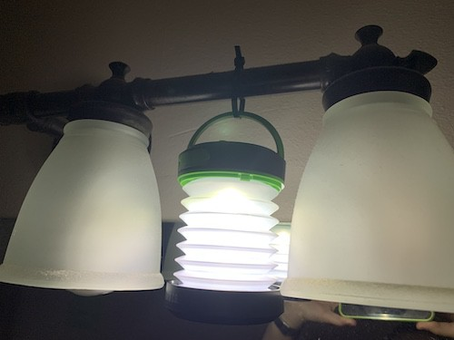 Use zip tie to hang a light
